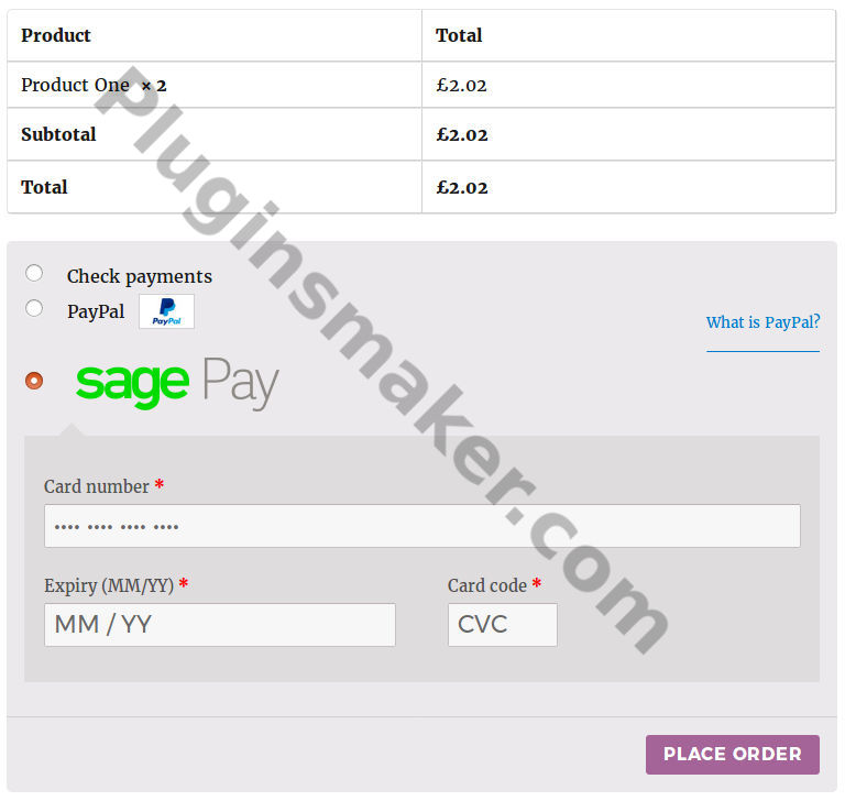 sage pay woocommerce payment gateway plugin checkout