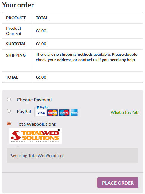 totalwebsolutions payment gateway checkout woocommerce