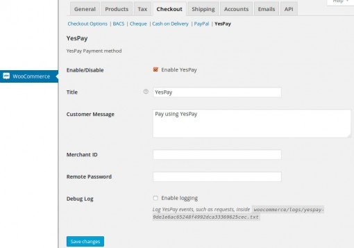 yespay payment gateway settings woocommerce