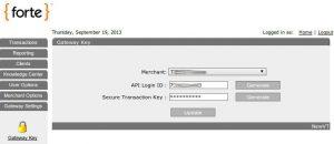 forte payment gateway setup gateway key