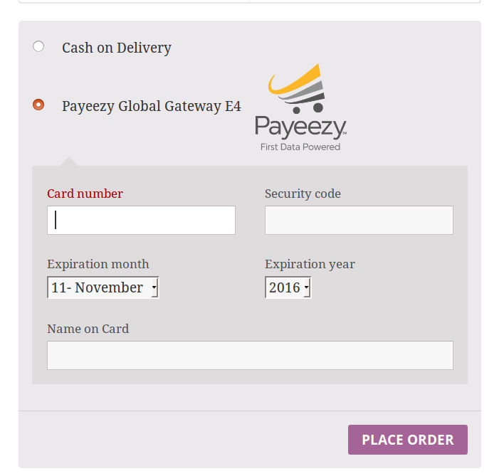 woocommerce payeezy global gateway e4 checkout