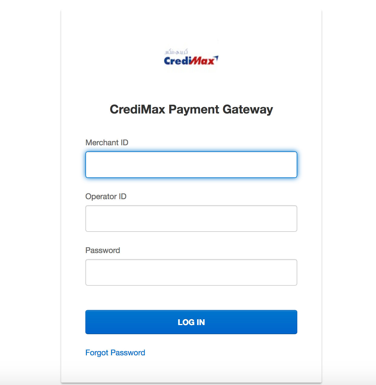 Credimax MPGS Payment Console login