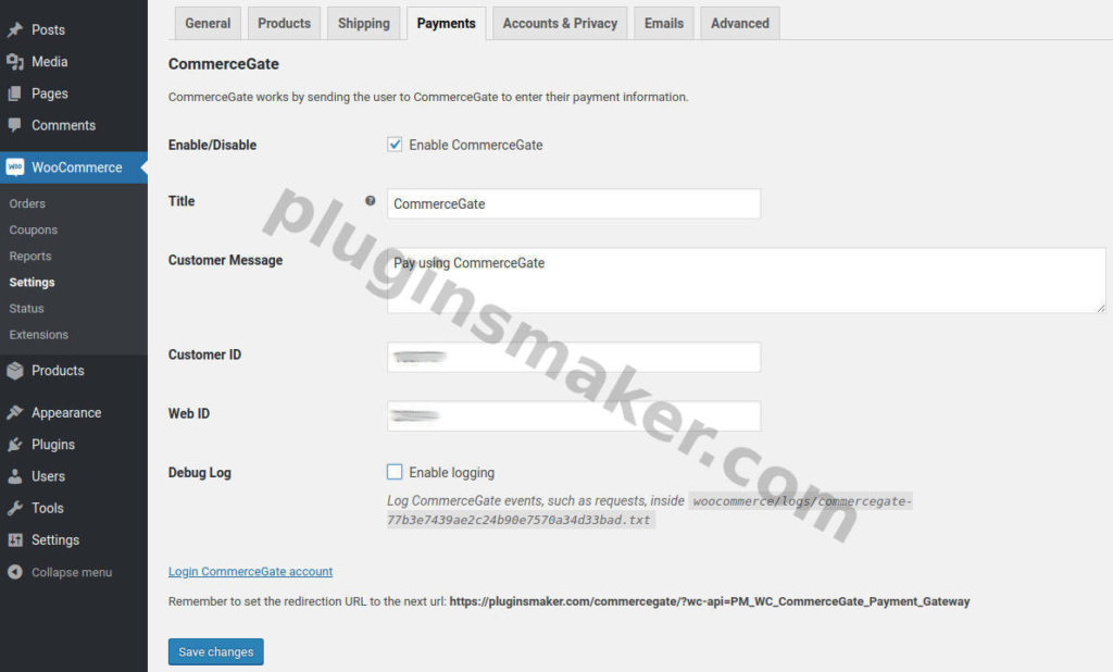 Payment gateway settings - commercegate payment gateway - plugin woocommerce
