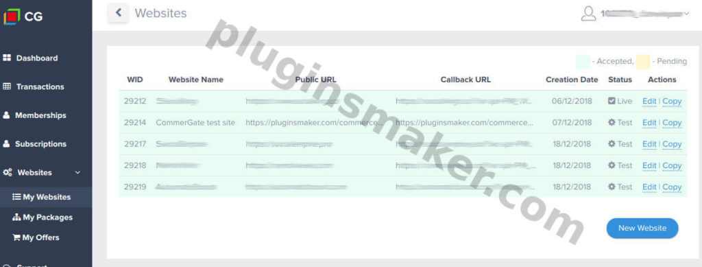 websites - commercegate payment gateway - plugin woocommerce