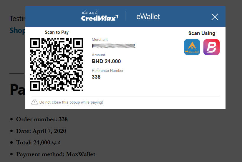 Woocommeerce MaxWallet payment QR