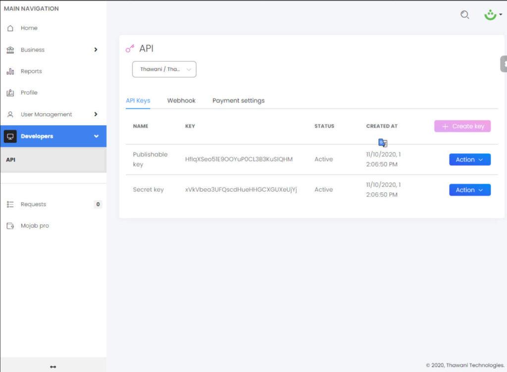 Thawani woocommerce payment gateway - API Key settings page